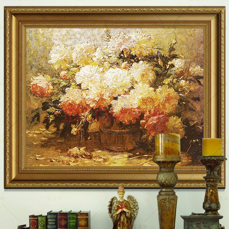 慧玉轩纯手绘油画花卉油画玄关大走廊挂画欧式客厅花卉油画a35黄金