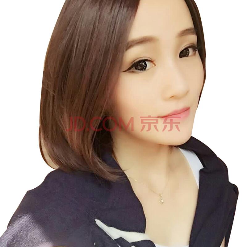 假发女短发套波波头直发中分刘海bobo学生头蓬松自然修脸沙宣 棕黑色图片