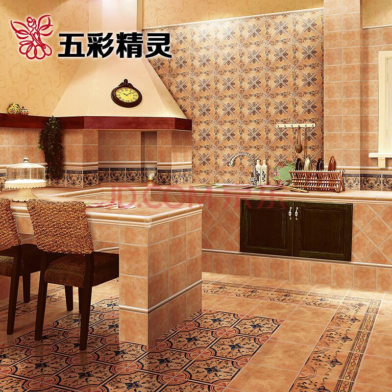 五彩精灵 仿古砖 美式乡村风格 厨房卫生间阳台地砖花图片