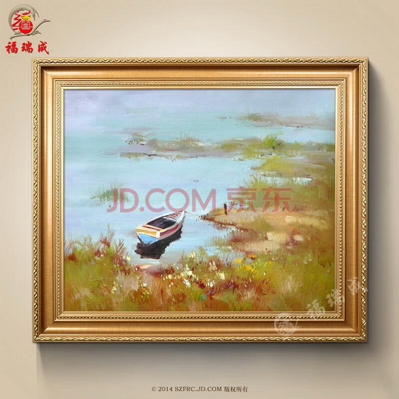 简约风景油画欧式纯手绘客厅装饰画乡村风景油画别墅玄关有框画 作品