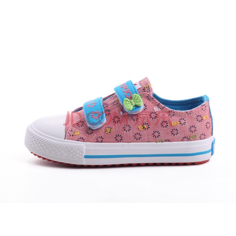 回力2014夏季新款女童鞋 可爱女童帆布鞋 魔术贴公主鞋 水红色 31码鞋