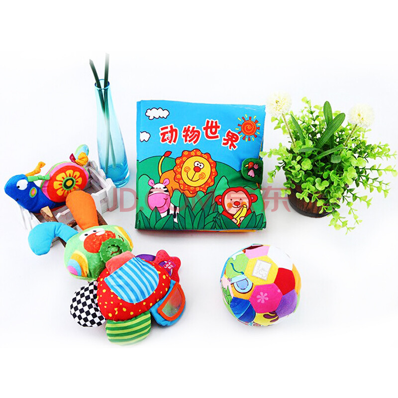 babay宝宝早教益智玩具立体响纸益智组合布书布玩 动物世界 乖乖兔