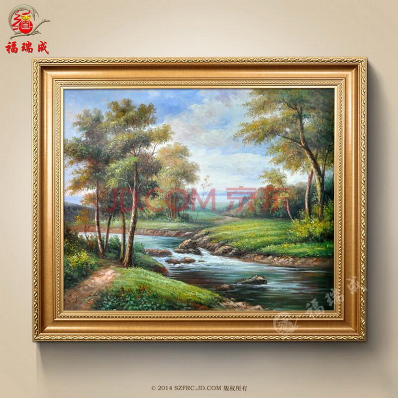 油画欧式纯手绘手工客厅高档古典山水风景人物有框盆