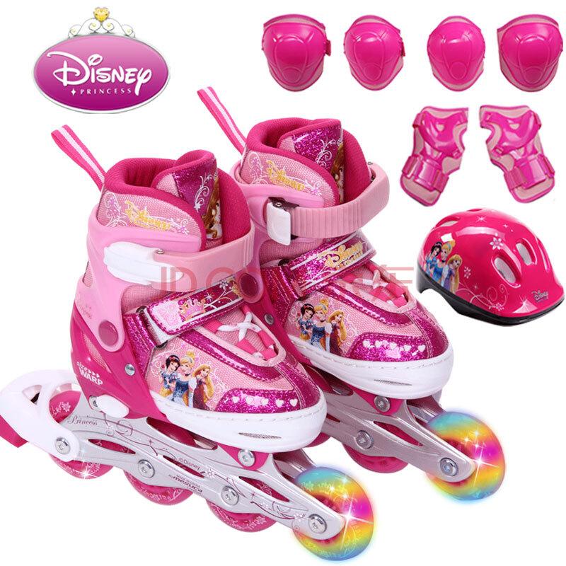 儿童溜冰鞋迪士尼正品可调滑冰鞋旱冰鞋