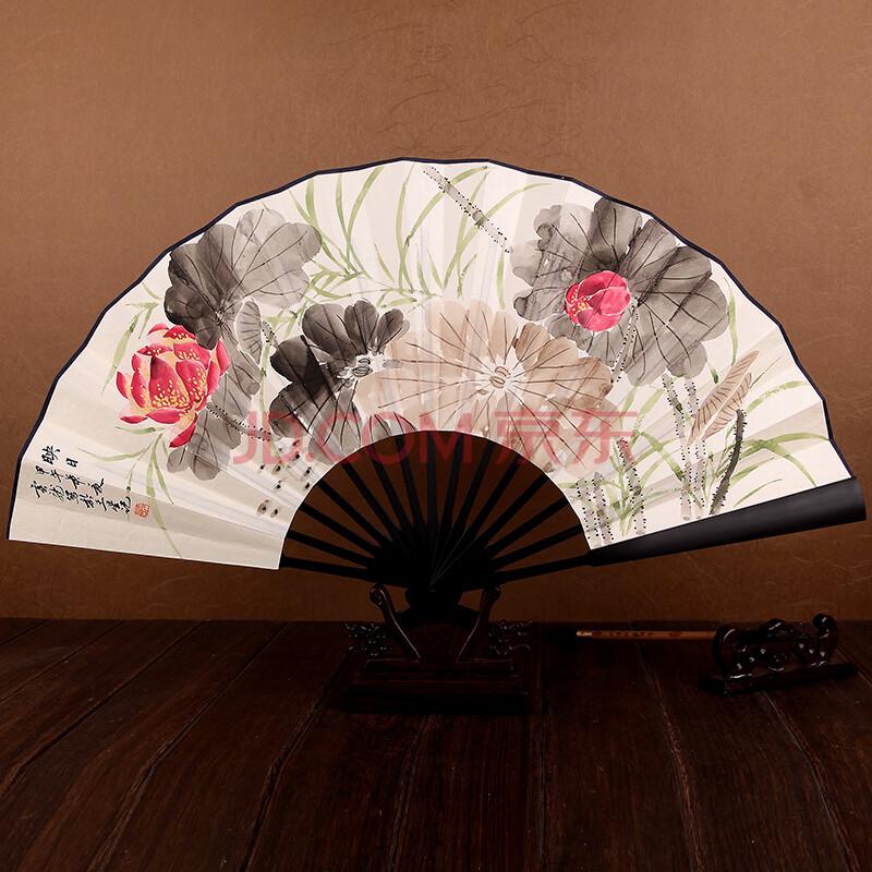 一尺仿乌木手绘男扇子 中国风工艺礼品高档白折扇包邮 映日荷花