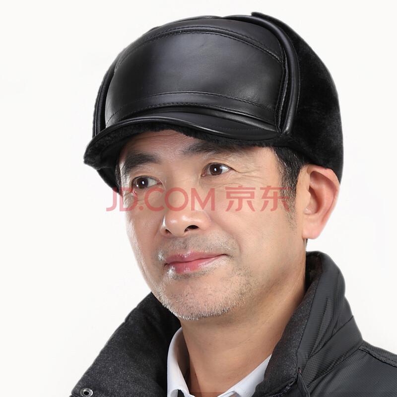 真皮皮帽子 中老年人帽子男士冬季护耳棉帽老人帽子男