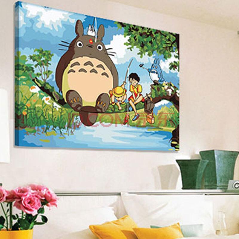 数字油画 简易手工自助手绘装饰挂画 卡通动物龙猫客厅 智者乐水 40x