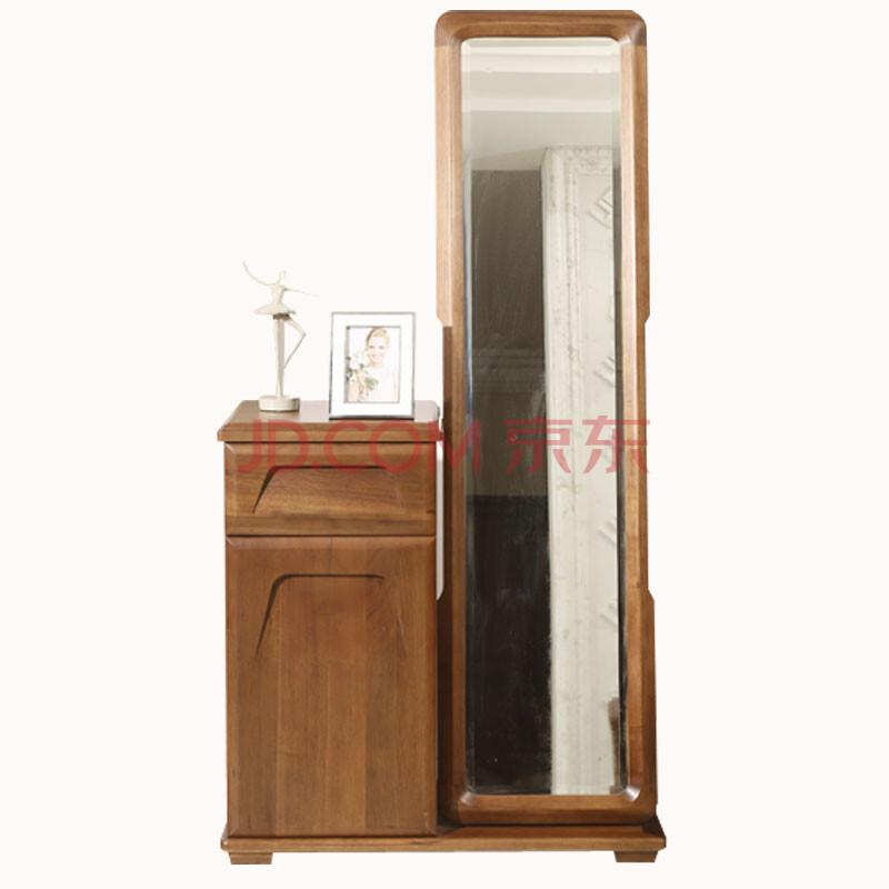爱绿居 现代新中式门厅柜 玄关柜鞋柜 胡桃木全实木试衣镜落地镜带储