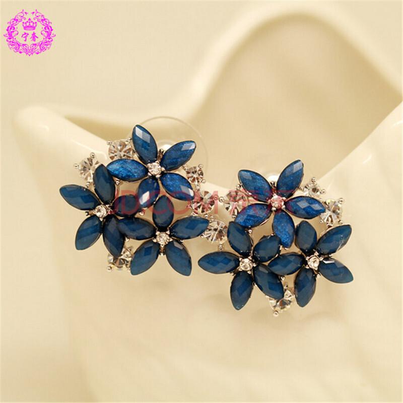 宁奢 甜美彩色小清新花朵锆石闪钻耳钉耳饰品 礼物 蓝色款