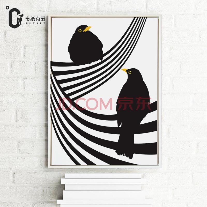 黑白装饰画创意壁画沙发背景墙画图片