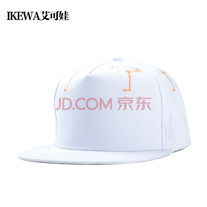 ikewa艾可娃 棒球帽子 白鹤刺绣平沿帽嘻哈帽 男女遮阳帽街舞帽 春夏