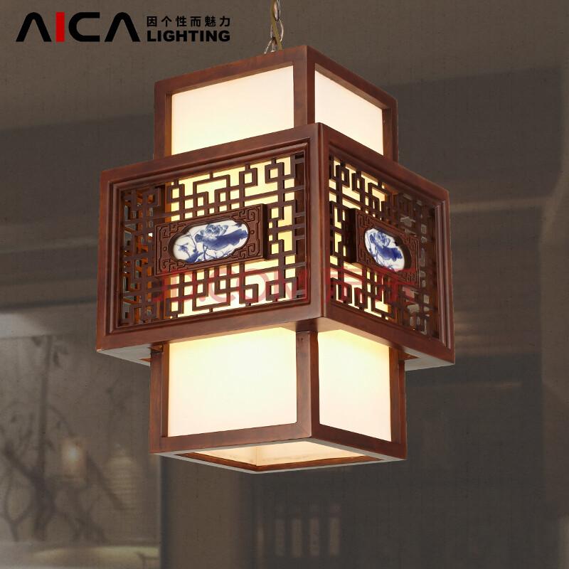 aica新中式吊灯仿古过道灯走廊灯玄关灯艺术现代中式实木灯具吊灯 s图片