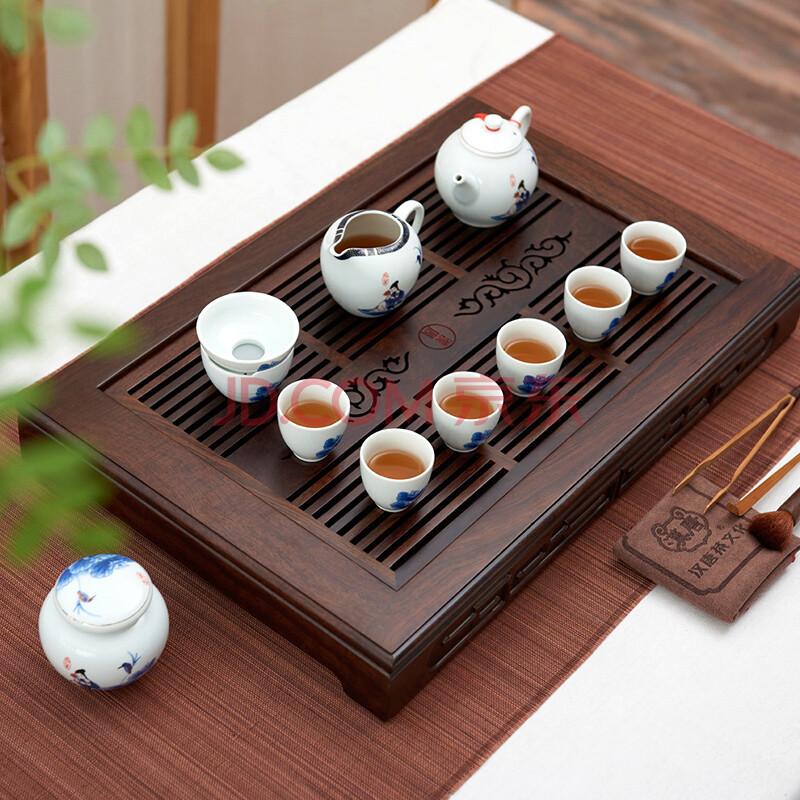 汉唐茶具套装整套陶瓷功夫茶具四合一电木结合实木茶盘组合 储水排水