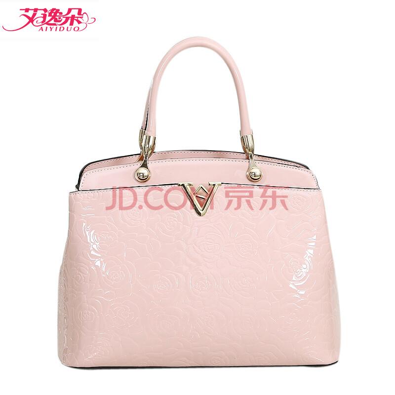 艾逸朵新款女式包包高档进口玫瑰花纹手提包货到付款单肩手拎大包abd1