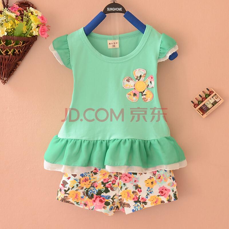 2014夏季儿童服装 女小童纯棉套装