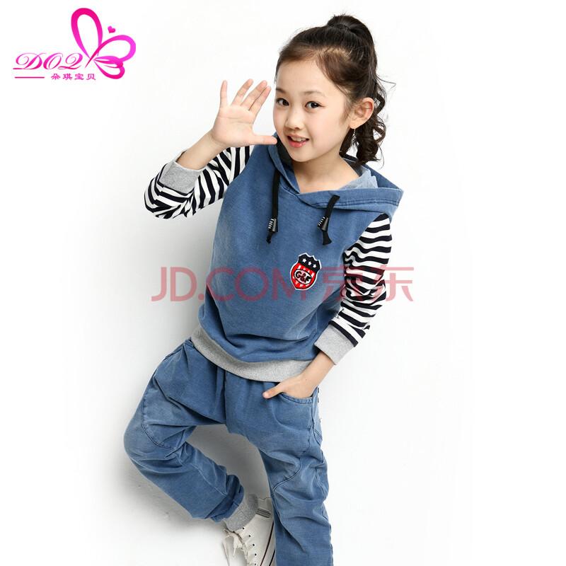 朵琪宝贝童装女童秋装韩版儿童牛仔拼接运动套装5199