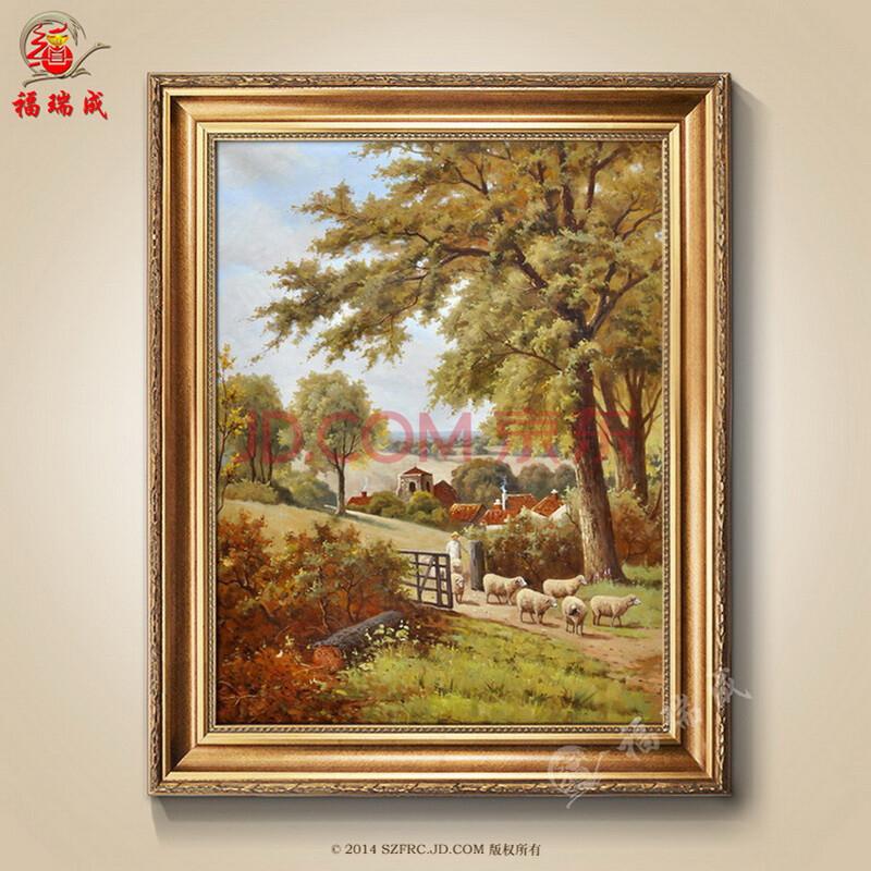 欧式有框手绘油画风景客厅玄关简约酒店装饰挂画 作品