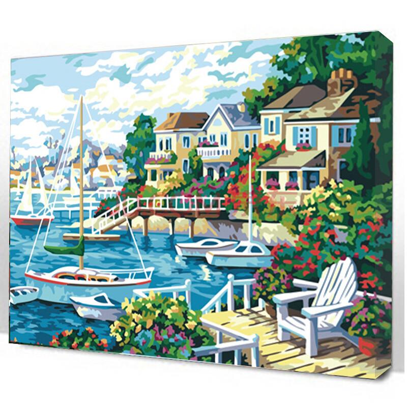 盛宝diy数字油画 diy手绘客厅餐厅风景情侣花卉人物装饰画带组合框 60