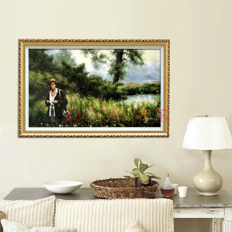 山迪 欧式客厅手绘油画装饰画沙发背景墙画玄关挂画壁画人物 画家