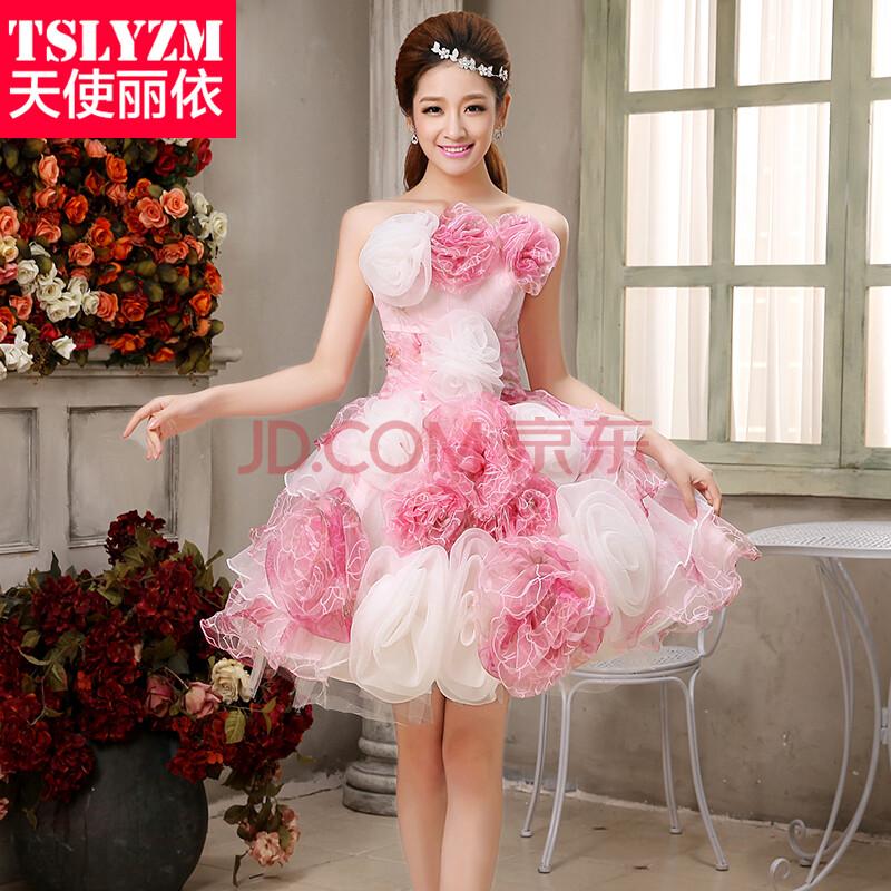 天使丽依 2014新款撞色抹胸小礼服 粉色大花朵蓬蓬裙影楼主题服装写真