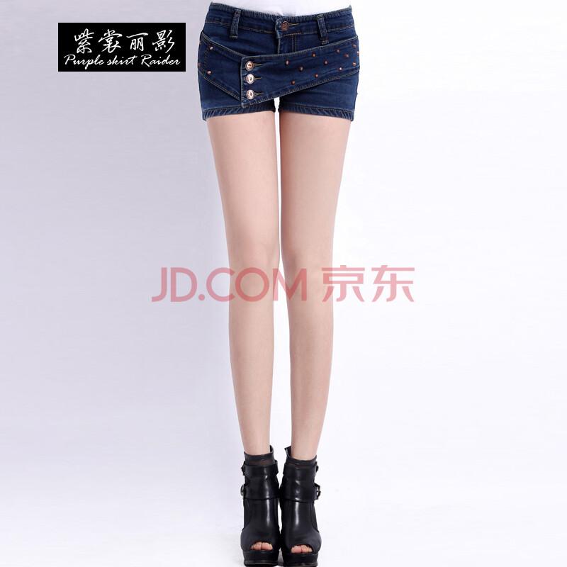 紫裳丽影2014夏季新款排扣显瘦牛仔短裤女 XD079