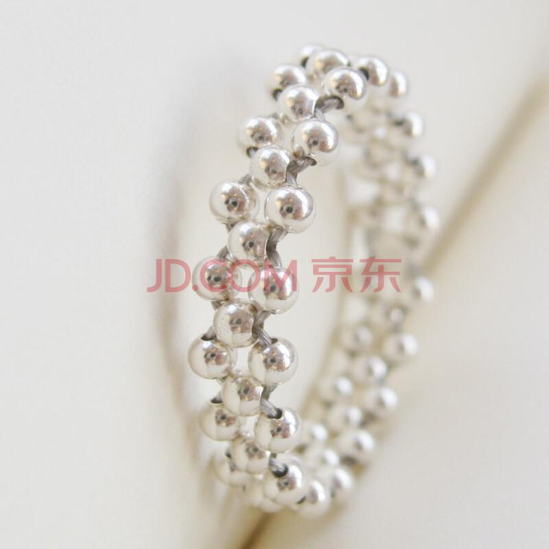 同兴德 990银小银珠戒指 手工编织食指拇指尾戒 9
