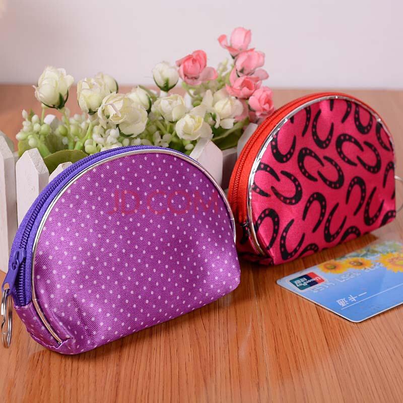 花半圆零钱包 可爱单拉链零钱包 女士手拿包韩版买菜包 颜色随机 时尚
