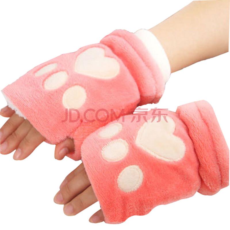 茉蒂菲莉 毛绒手套秋冬猫咪爪子毛绒女士保暖手套 熊掌电脑半指手套