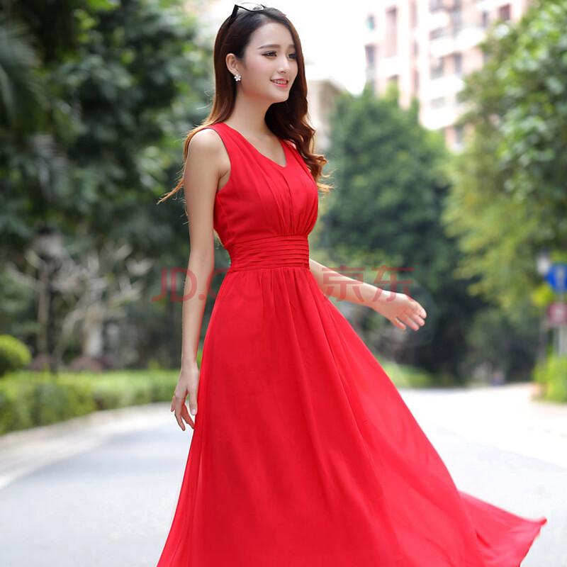 2016夏季新款红色连衣裙长裙v领雪纺修身女装波西米亚沙滩裙子 红色 l