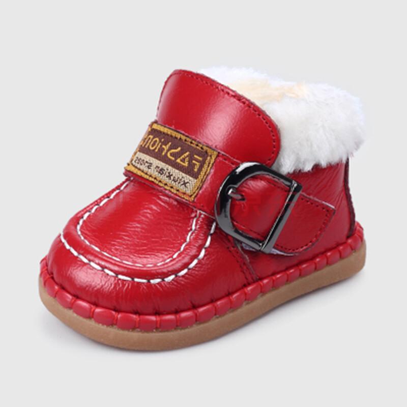 冬季男女宝宝鞋学步软底儿童鞋 婴儿棉鞋0-1-2-3岁鞋子雪地靴 红色 18