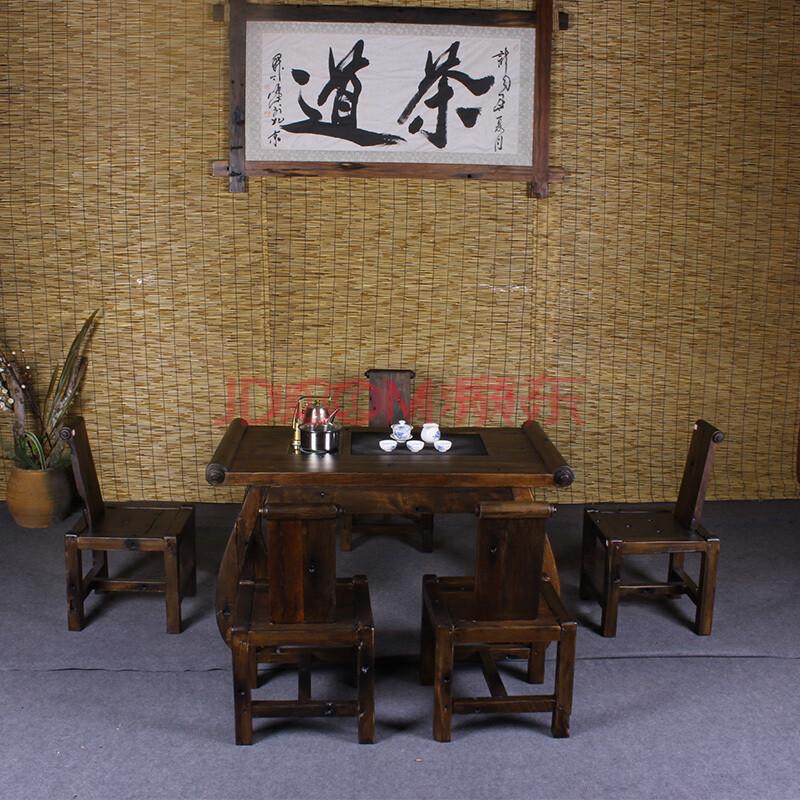 船木凳子桌子复古仿古中式茶桌厂家直销船木茶台泡茶台功夫茶桌椅组合