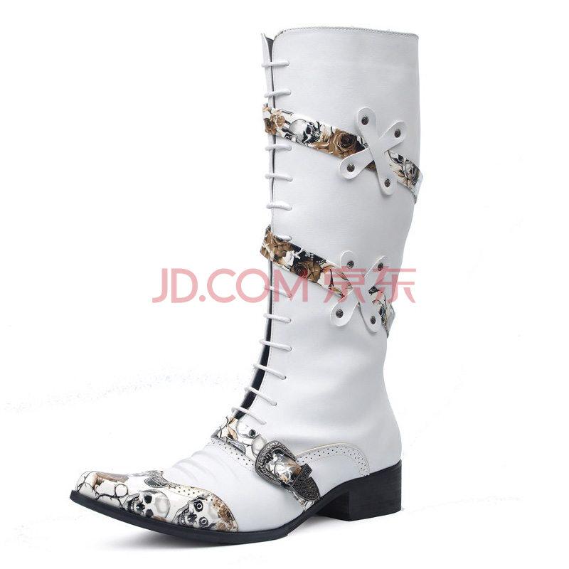 时尚铆钉皮靴子朋克长靴筒中筒马丁靴休闲男靴冬非主流街舞鞋演出潮靴图片
