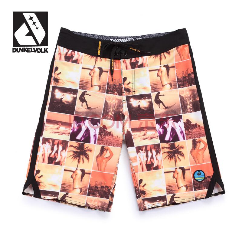 dunkelvolk美女照片款拼图沙滩裤 速干透气弹力