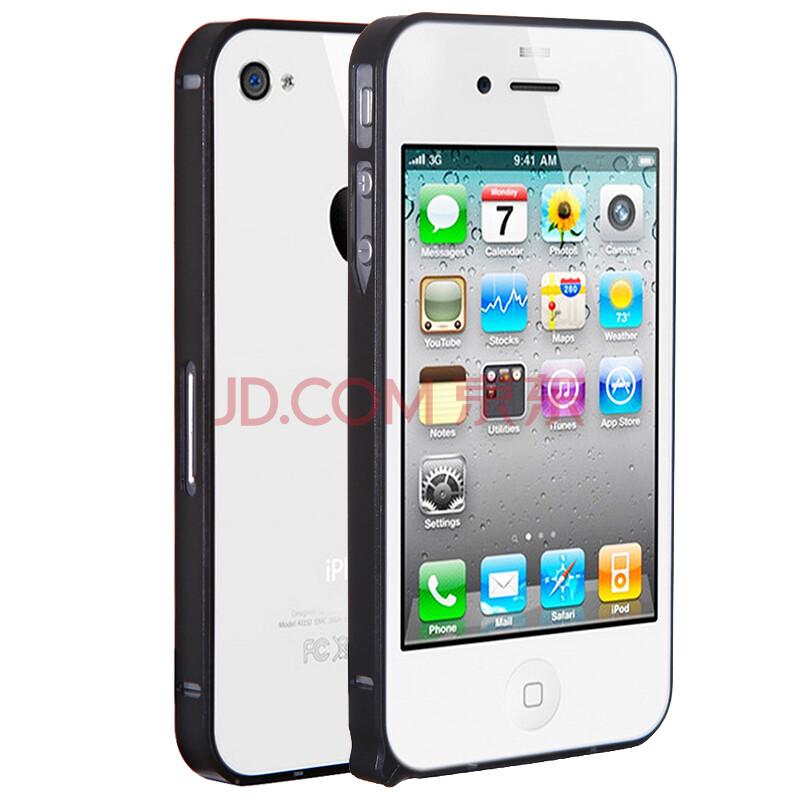 络亚 金属边框手机壳保护套 适用于苹果iphone4/4s me4s001黑
