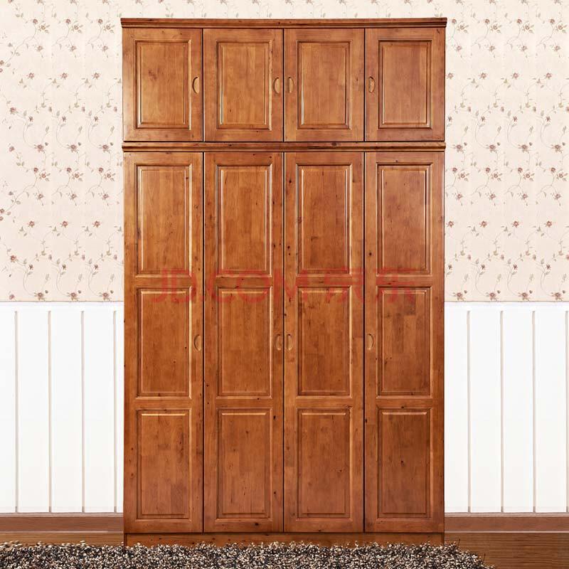 柏韵堂实木衣柜全实木家具住宅家具四门拉门大衣柜木柜类顶柜衣橱