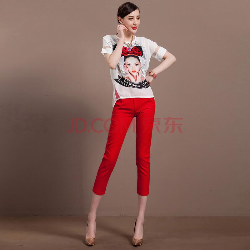 美女头像印花蝴蝶结短袖女士背心t恤+红色七分小脚裤