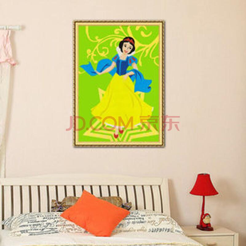 diy手工数字油画 卡通动漫情侣手绘装饰画 儿童益智 白雪公主 20*30cm