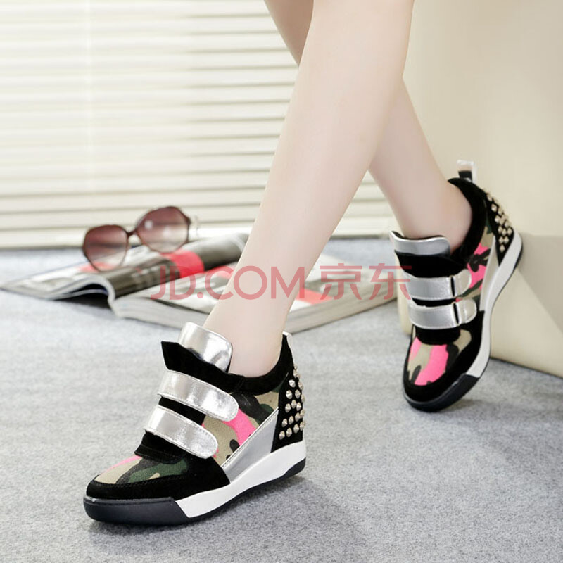 莱然2014春秋季新款韩版高帮鞋女士铆钉隐形内增高鞋