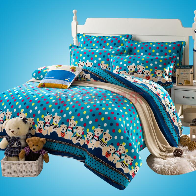 依米花家纺 欧式印花法莱绒四件套 冬用保暖四件套 床图片