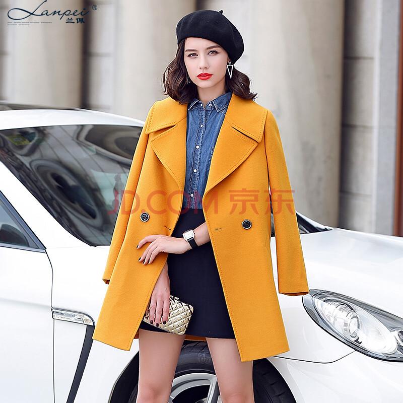 兰佩2015秋冬新款双面羊毛呢子大衣 女中长款西装领斗篷毛呢外套女