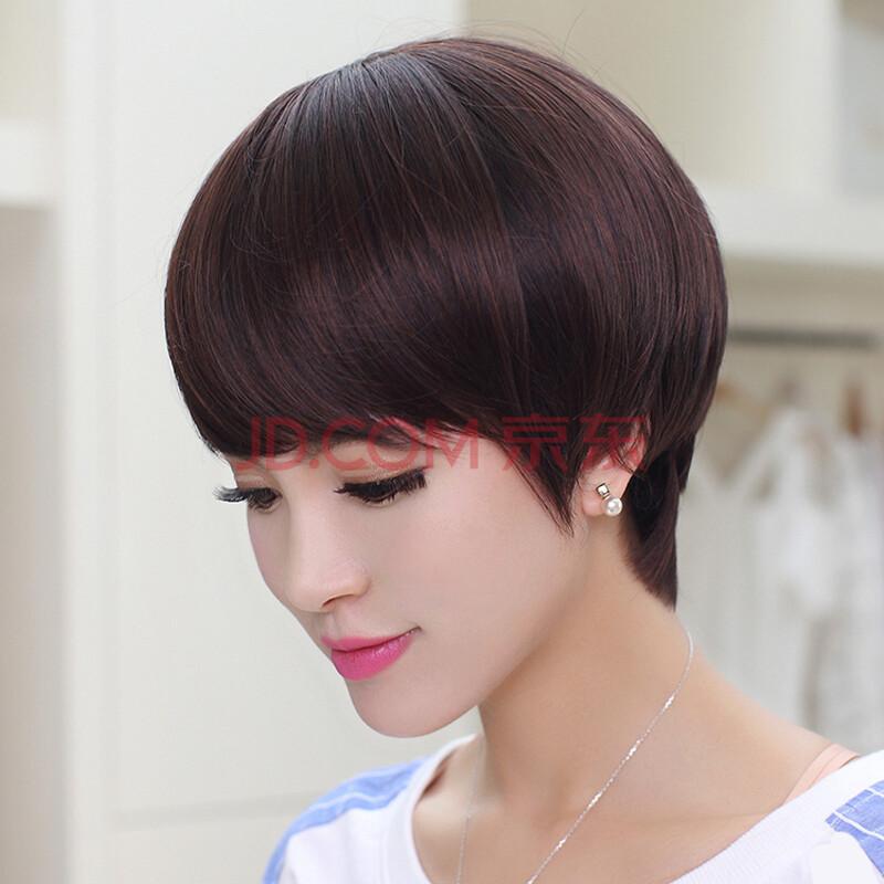 智胜江 短发直发 新款假发 时尚假发 逼真超薄透气 四色 浅棕色图片