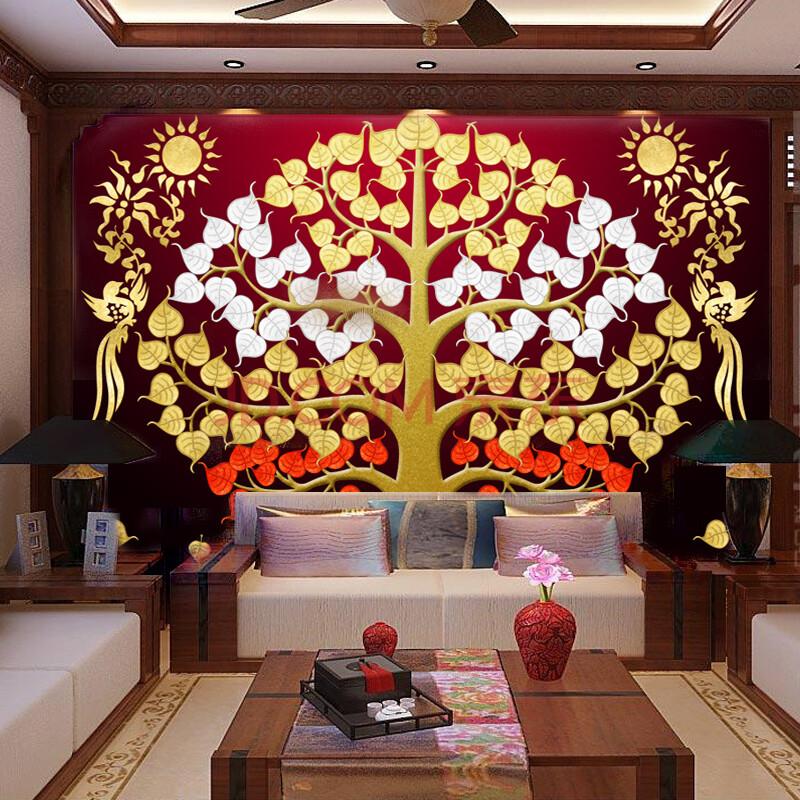 瑜珈背景墙东南亚泰国风格壁画
