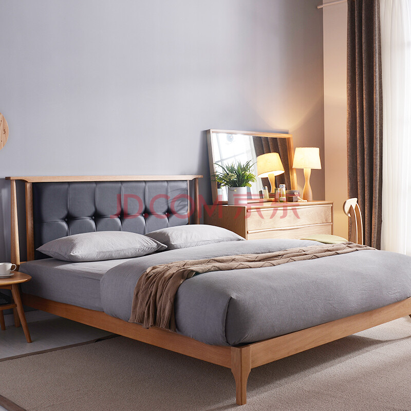 5米双人床橡木床北欧宜家皮艺床婚床卧室家具 原木全实木床 三包具体