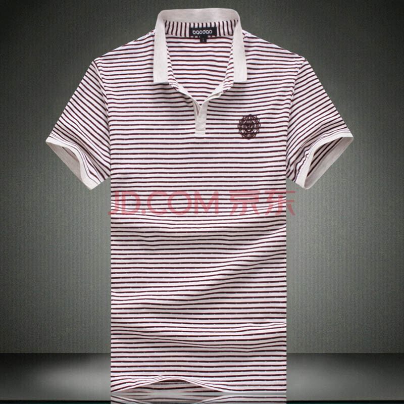 gurunvani夏装男士t恤休闲韩版立领套头袖标条纹拼色t恤加肥加大码