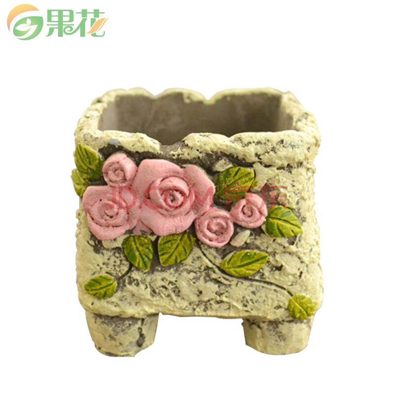 果花 韩式手绘花盆 复古水泥多肉花盆 手绘立体浮雕绿植花盆美观 1个