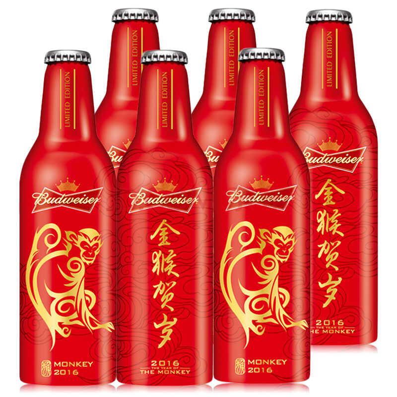 Budweiser百威铝罐 咱家啤酒 355ml 金猴贺岁版6瓶装)