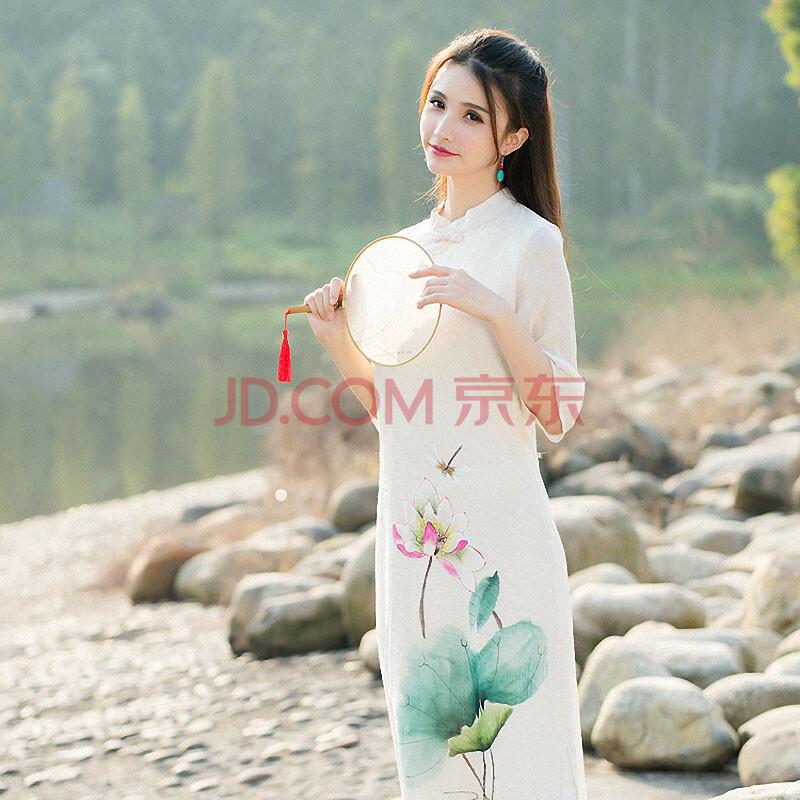 星愿迷罗2016春夏季连衣裙 棉麻女装新款中国风手绘印花长裙改良旗袍