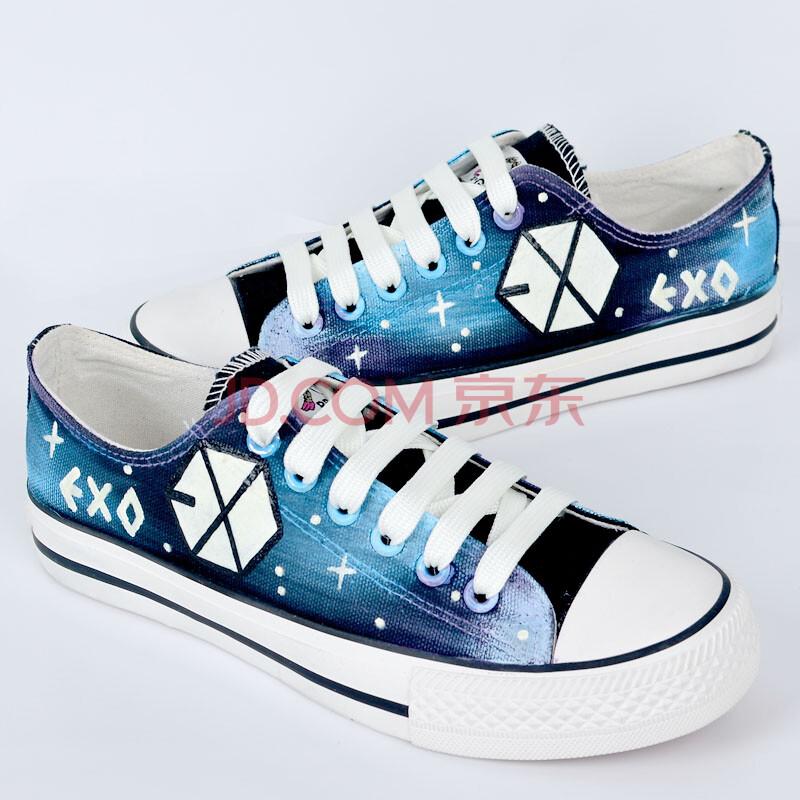 卜丁日系原宿低帮系带情侣夜光星空手绘鞋涂鸦女鞋 夜光exo标志帆布鞋