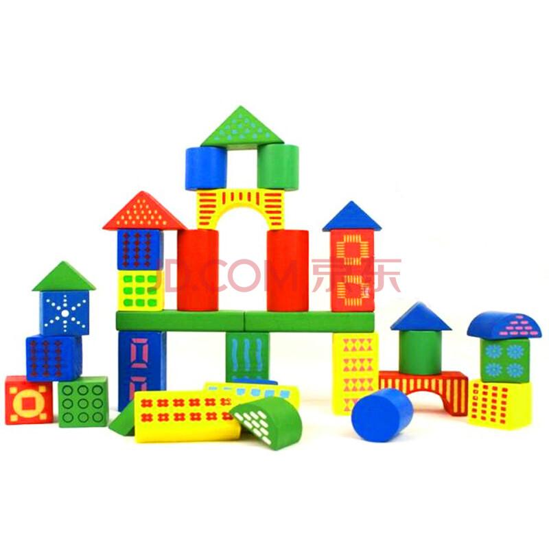 新蕾桶装彩盒积木玩具木制大块积木木质儿童益智启蒙积木玩具xl9884