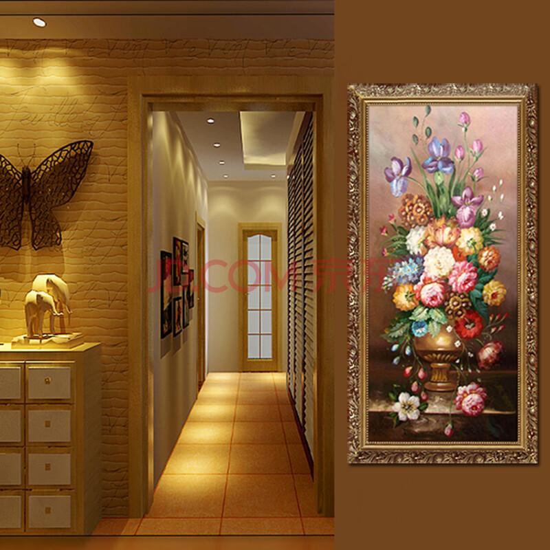 莫涵欧式油画纯手绘玄关装饰画竖版过道走廊壁画客厅古典花卉静物送礼图片